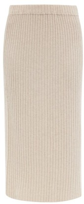 Allude Ribbed-knit Cashmere Midi Skirt - Beige