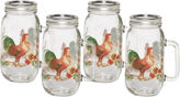Pfaltzgraff Rooster Meadow Set of 4 Glass Mason Jars