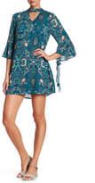Blu Pepper Mock Collar Cutout Floral Dress