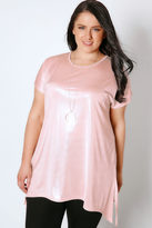 Yours Clothing Pink Shimmer Top With Hanky Hem