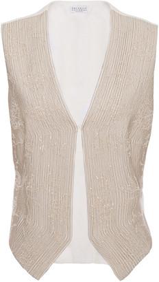 Brunello Cucinelli Embellished Herringbone Cotton And Linen-blend Vest