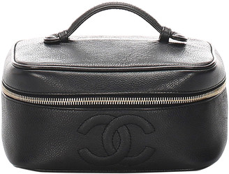 Chanel Black Caviar Leather Vintage Vanity Bag