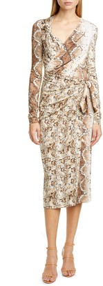 Altuzarra Snakeskin Print Long Sleeve Dress