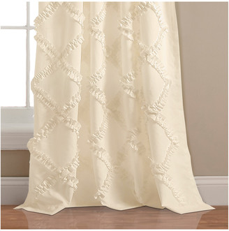 Triangle Home Fashion Ruffle Diamond Window Curtain Ivory Set