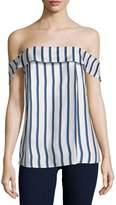 Nicholas Off-The-Shoulder Striped Silk Top, Dual Stripe