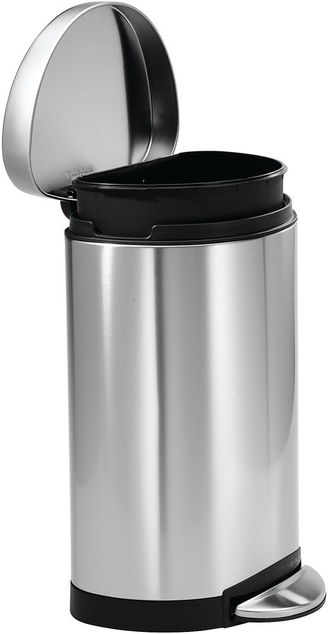 Simplehuman Semi-Round Step Trash Can, Fingerprint-Proof, Brushed Stainless Steel, 10 L