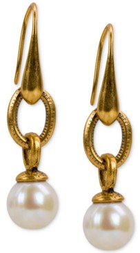 Patricia Nash Gold-Tone Imitation Pearl Drop Earrings