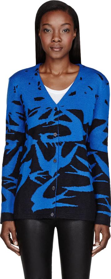 McQ Blue & Black Knit Swallow Cardigan
