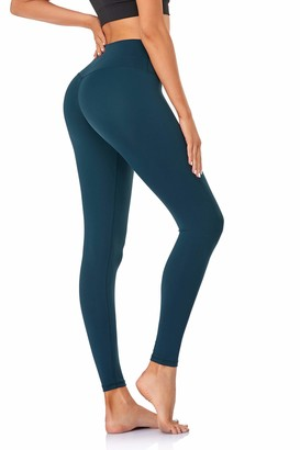 Urbane Soul Women High Waisted Yoga Pants Running Gym Workout Body Shaping Tights Leggings (Dark Green Small)