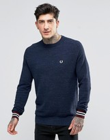 Fred Perry Jumper In Pique With Crew Neck In Vintage Navy Marl