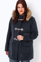 Yours Clothing Navy Duffle Coat With Faux Fur Lined Borg Hood