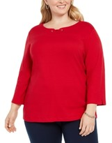 Karen Scott Plus Size Cotton Split-Neck Grommet Top, Created for Macy's