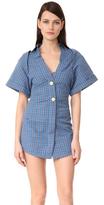 Jacquemus Checkered Short Sleeve Shirtdress