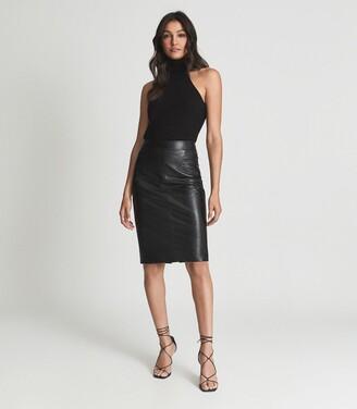 Reiss Reagan - Leather Pencil Skirt in Black