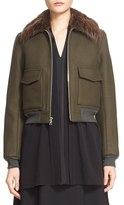 ADAM by Adam Lippes Women's Wool Blend Twill Bomber Jacket With Removable Genuine Beaver Fur Collar