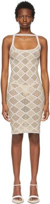 Isa Boulder Beige and Off-White Argyle Wafer Dress