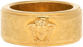 Versace Gold and Black Logo Ring