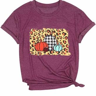 Loveletters  Loveletters Womens Funny Leopard Pumpkin Printed Shirts Halloween Short Sleeve Graphic Tees Cute Fall T-Shirts Tops