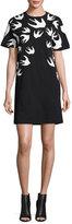 McQ by Alexander McQueen Short-Sleeve Jersey Swallow-Print T-Shirt Dress, Black
