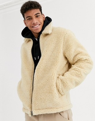 Threadbare borg jacket with collar in ecru-Cream