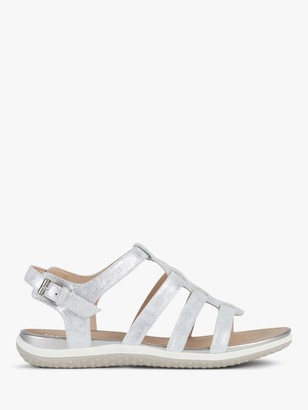 Geox Women's Vega Wide Fit Leather Sandals, Silver