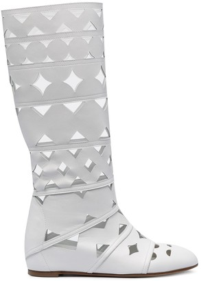 Casadei Cut-Out Leather Boots