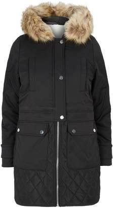 Claudie Pierlot Faux Fur-Trim Hooded Coat