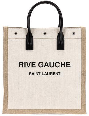 Saint Laurent Noe North South Tote in Lino Bianco & Nero | FWRD