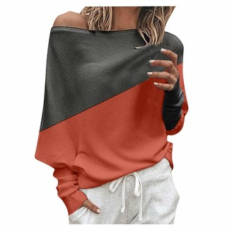 LOPILY Women's Sweater One Shoulder Color Block Patchwork Pin-Tuck Pullover Tops Bat Wing Sleeve Plain Jumpers Popular Soft BlouseRedUK: 16/CN:3XL