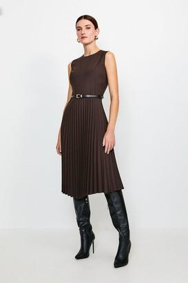Karen Millen Polished Stretch Wool Blend Pleated Dress