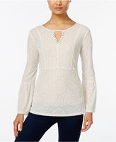 Style&Co. Style & Co. Velvet Patterned Keyhole Top, Only at Macy's