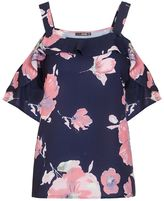 Quiz Navy And Pink Flower Print Strappy Top