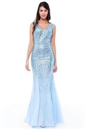 Goddiva Powder Blue Sequin and Chiffon Maxi Dress