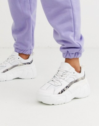 Public Desire Hummer chunky sneakers in white and snake