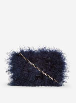 Dorothy Perkins Womens Navy Feather Chain Cross Body Bag