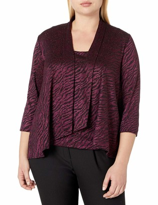 Alex Evenings Women's Plus Size Burnout Twinset with Tank Top and Jacket