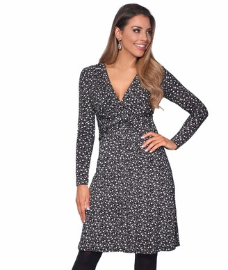 KRISP Women Ruched Knot Front Long Sleeve V Neck Casual Party Dress (Stone 8 UK) 5284-STN-08
