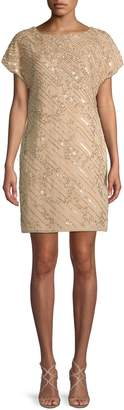 Adrianna Papell Bead & Sequin Short-Sleeve Sheath Dress