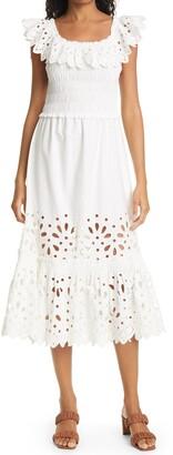 Sea Hazel Eyelet Lace Smocked Midi Dress