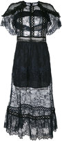 Self-Portrait lace-detail shift dress - women - Polyamide/Polyester - 14