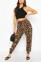 Thumbnail for your product : boohoo Woven Leopard Print Relaxed Joggers