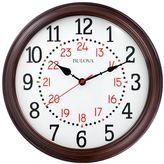 Bulova Station Master Wood Case Wall Clock in Cherry Finish