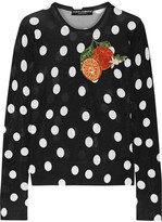 Dolce & Gabbana Appliquéd Polka-dot Silk Sweater - Black