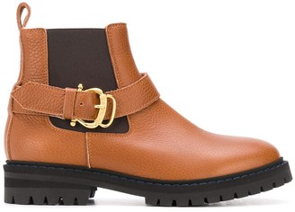 Pollini Buckled Chunky Leather Boots