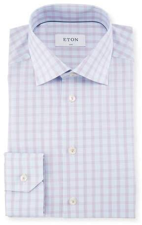 Eton Tattersall Check Cotton Dress Shirt