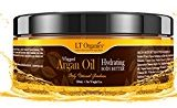 Natural Whipped Argan Oil Body Butter Paraben Free Moisturizer For Dry Skin, Psoriasis, and Eczema by LT Organics, Maximum Hydration For Skin Healing & Rejuvenation