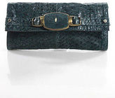 R & Y Augousti R&Y Augousti Teal Black Leather Gold Tone Hardware Rectangular Clutch