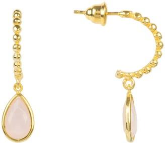 Latelita Palermo Beaded Hoop Gemstone Drop Earring Rose Quartz Gold
