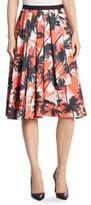 Jason Wu Palm-Print Cotton A-Line Skirt