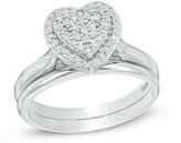 Zales 1/4 CT. T.W. Composite Diamond Heart Frame Bridal Set in Sterling Silver
